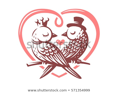 retro birds couple in love on pink background stock photo © lordalea