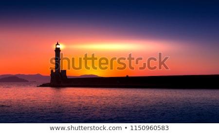 灯台 · 日没 · 桟橋 · 日の出 · 岩 · イングランド - ストックフォト © lightsource