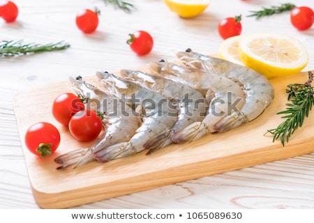 fresco · camarão · jantar · limão · salada · cozinhar - foto stock © M-studio