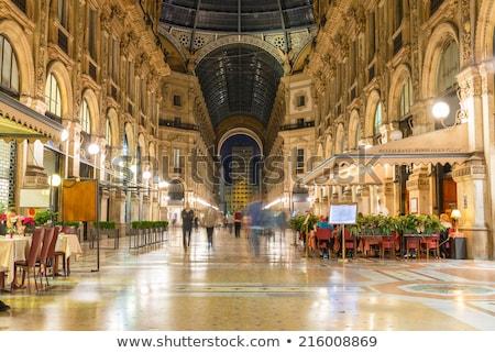 üveg kupola belső galéria Milánó Olaszország Stock fotó © anshar