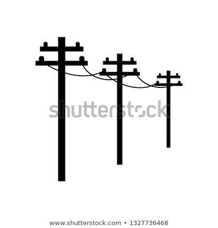 Siluet mavi gökyüzü telefon mavi iletişim güç Stok fotoğraf © angusgrafico