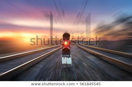 Chemin de fer signal lumière pierre trafic acier Photo stock © leungchopan