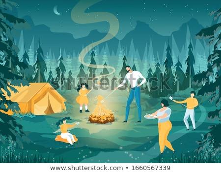 gyerekek · ül · sátor · táborhely · lány · gyermek - stock fotó © mikko