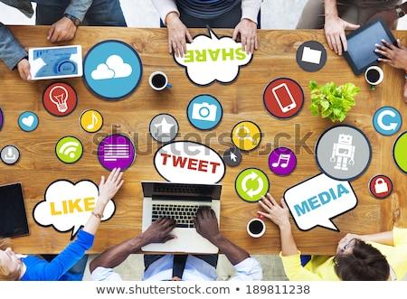 Közösségi média beszédfelhő vektor térkép terv hálózat Stock fotó © burakowski