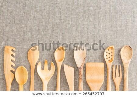 Border of wooden kitchen necessities Stock photo © ozgur