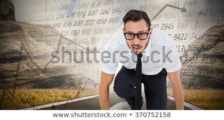 молодые бизнесмен готовый гонка белый бизнеса Сток-фото © wavebreak_media