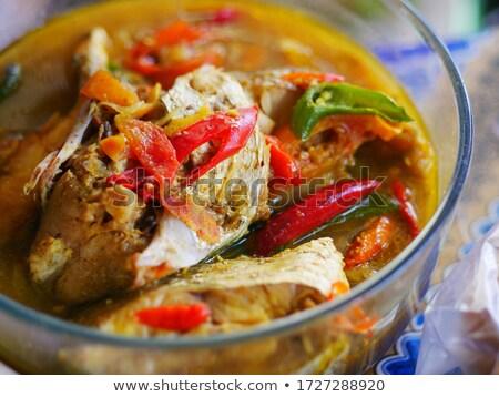 黄色 辛い スープ 魚 ココナッツ ストックフォト © vichie81