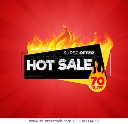 Hot sale flame banner, vector illustration Stock photo © carodi