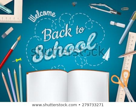 Foto stock: Bem-vindo · de · volta · à · escola · modelo · eps · 10 · maçã