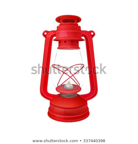 Isolated image of red kerosene lantern with glass Stock photo © ozgur