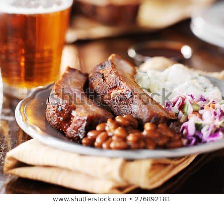 Varkensvlees gebakken bonen gerookt schaal Stockfoto © Digifoodstock