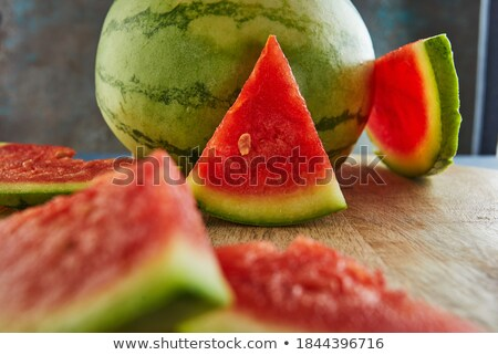 watermeloen · vruchten · rustiek · Blauw · houten · tafel - stockfoto © stevanovicigor