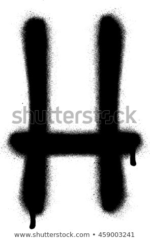 sprayed H font graffiti with leak in black over white Stock photo © Melvin07
