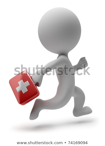 doctor runs to aid isolated 3d image stock photo © iserg