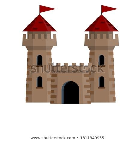 Twierdza wieża stylizowany wektora starych zamki Zdjęcia stock © tracer