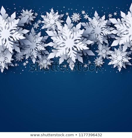 Vakantie 3D sneeuwvlok winter gelukkig licht Stockfoto © olgaaltunina