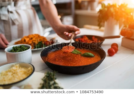 raw pasta with tomato sauce and spices Stock photo © M-studio