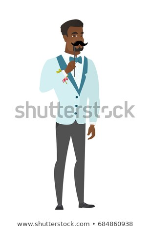 Jovem noivo falsificação bigode papel Foto stock © RAStudio