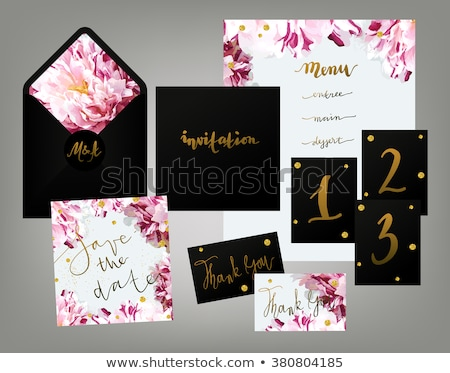 set of wedding invitation card suite with flower decoration Stock photo © SArts