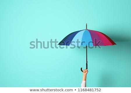 mulher · guarda-chuva · belo · mulher · jovem · chuva - foto stock © is2