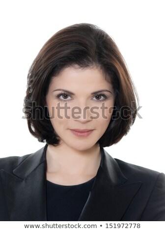 portrait of beautiful brunette businesswoman wearing a white shi Stock photo © feedough