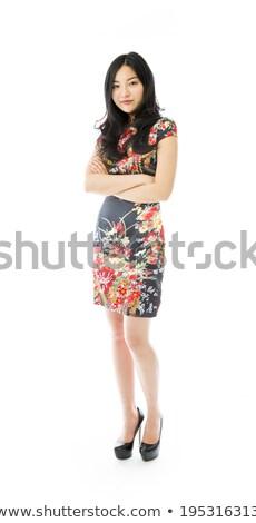 retrato · sorridente · menina · longo · cabelo · escuro - foto stock © deandrobot