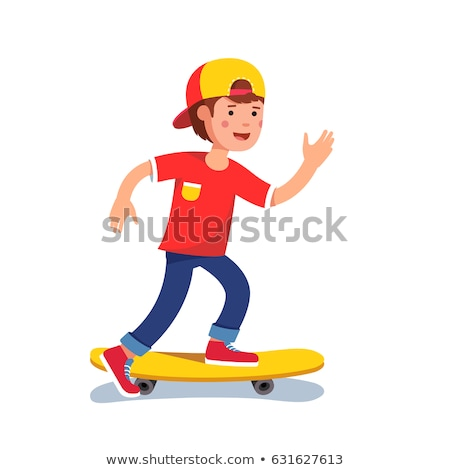 Skateboarding Boy Wearing Cap Vector Illustration Stock photo © robuart