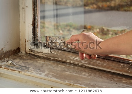 Old oil window glazing putty removing Stock photo © simazoran