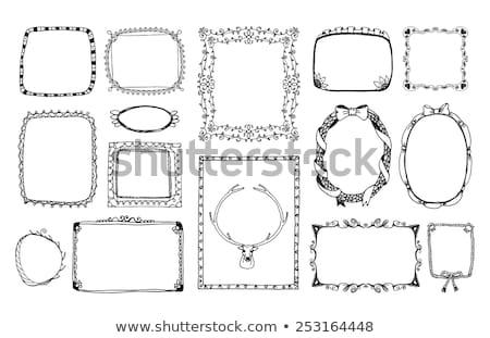 Keret szalagok vektor monokróm rajz szett Stock fotó © robuart