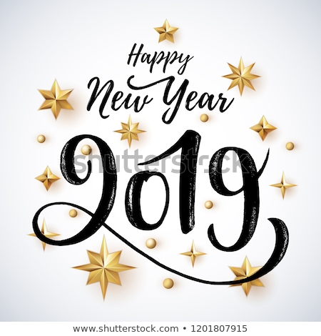 Golden sign Happy New 2019 Year Holiday Vector Illustration. Shiny Gold Lettering Composition With S Stock photo © MarySan