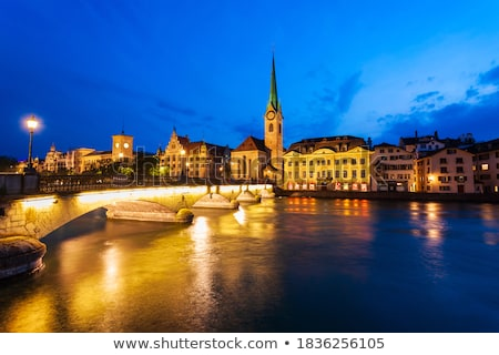 zurich and limmat river waterfront architecture view through sto stock photo © xbrchx