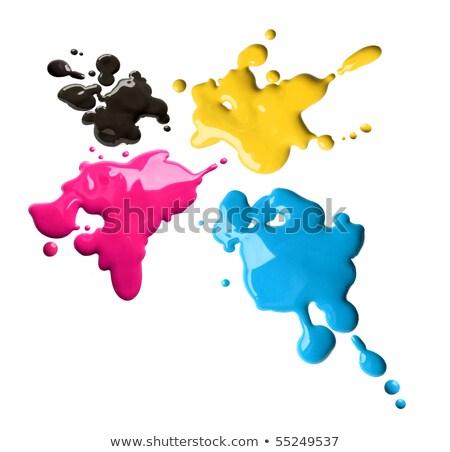 Dört renkler mürekkep damla gri bo Stok fotoğraf © make