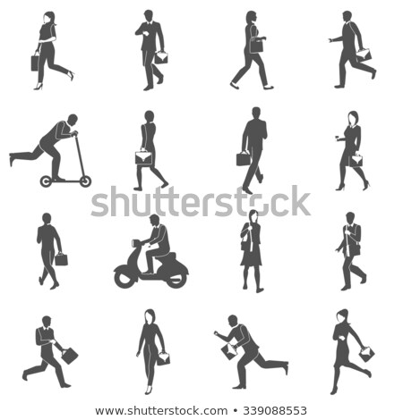 business man hurry walking vector icon black design element Stock photo © blaskorizov