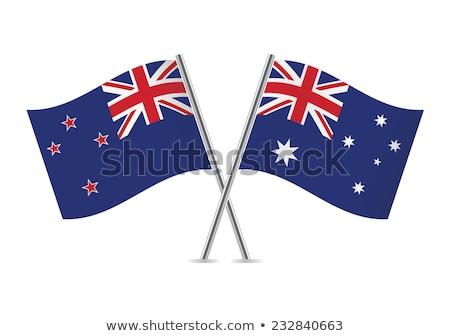 Kettő integet zászlók Ausztrália Új-Zéland izolált Stock fotó © MikhailMishchenko