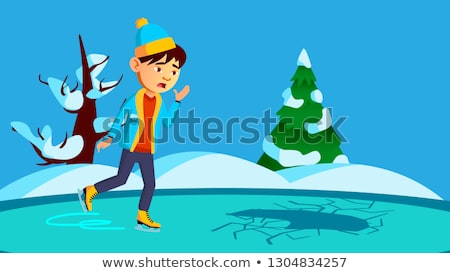 Scared Little Boy Skating On Broken Ice Of The River Vector. Isolated Illustration Stock photo © pikepicture
