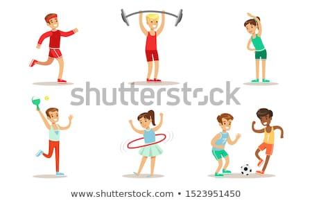 Kinderen verschillend activiteiten illustratie meisje voedsel Stockfoto © colematt