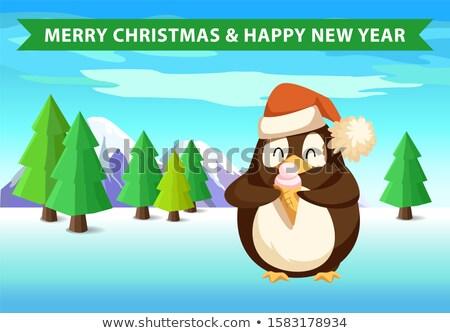 Pingvin erdő fagylalt karácsony szalag új év Stock fotó © robuart