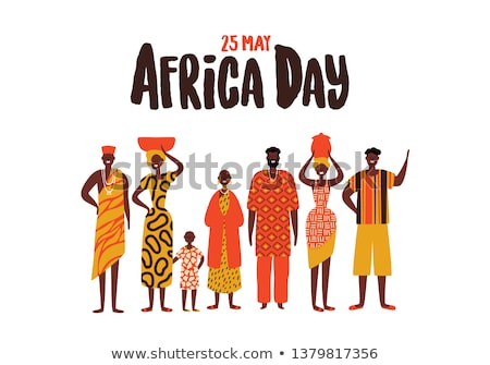 Africa Day card of diverse african people group Stock photo © cienpies
