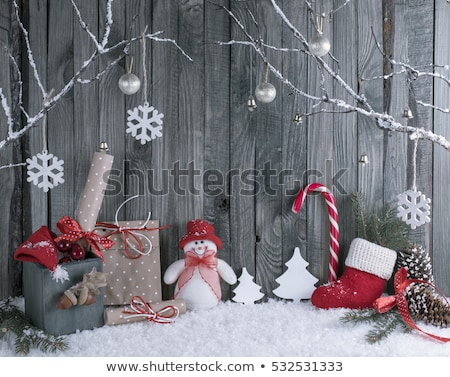 Christmas composition with winter boots Stock photo © Melnyk