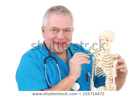 funny doctor with skeleton in hospital stock photo © elnur