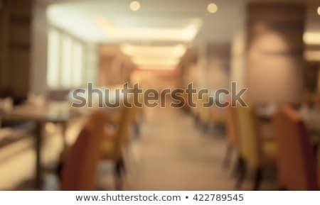 Pusty drewniany stół zamazany streszczenie front restauracji Zdjęcia stock © Freedomz