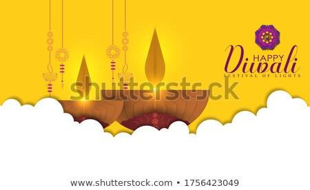 happy diwali yellow background with decorative diya Stock photo © SArts