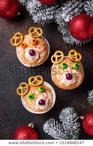 陽気な · クリスマス · 緑の木 · 文字 · ケーキ - ストックフォト © furmanphoto