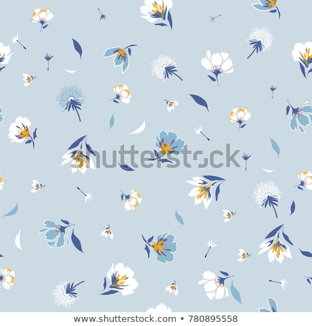 hand drawn cute small flowers and leaves background stock photo © margolana