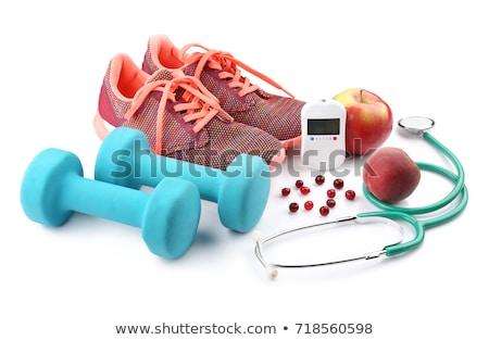 Spor malzemeleri tahta diyabet kelime egzersiz spor Stok fotoğraf © AndreyPopov