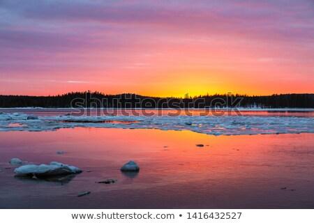 Naplemente fehér tenger Oroszország szigetek tájkép Stock fotó © borisb17