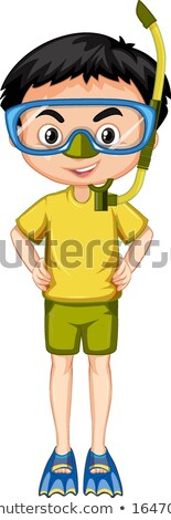 Boy in yellow shirt with snorkel and fins Stock photo © bluering