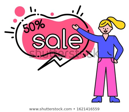 Big Sale and Offer, Woman and Captions in Bubbles Stock photo © robuart