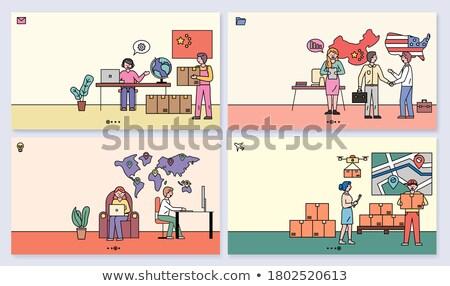 Hombre paquete China mundo cajas establecer Foto stock © robuart