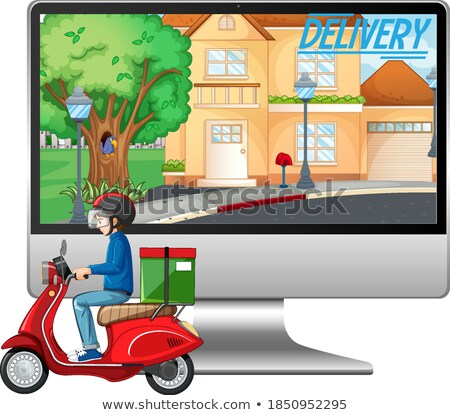Computer with bike man or courier and free delivery logo Stock photo © bluering